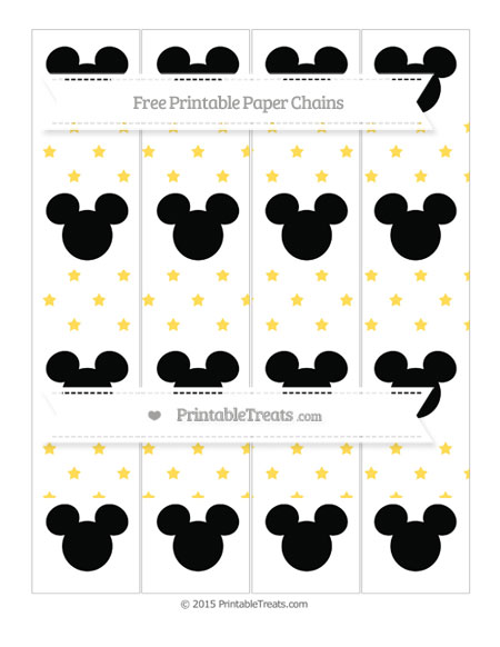 Free Mustard Yellow Star Pattern Mickey Mouse Paper Chains