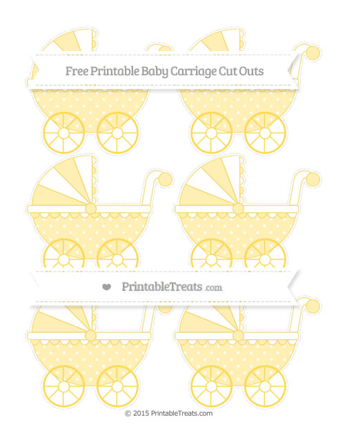 Free Mustard Yellow Star Pattern Small Baby Carriage Cut Outs