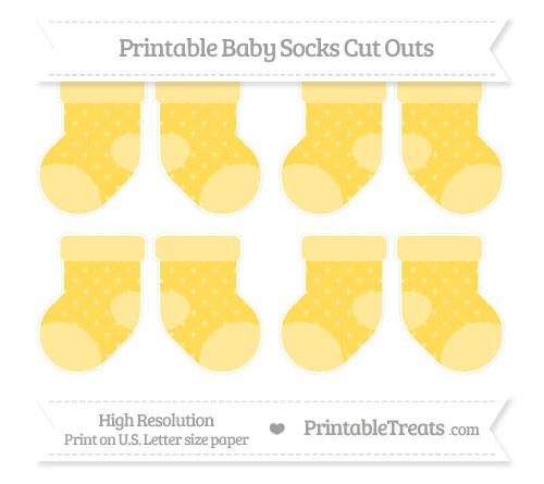 Free Mustard Yellow Star Pattern Small Baby Socks Cut Outs