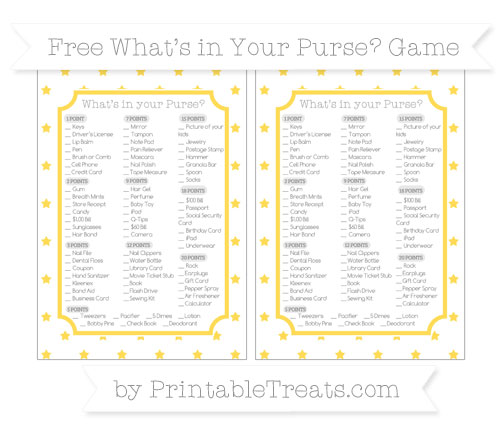 Free Mustard Yellow Star Pattern What's in Your Purse Baby Shower Game