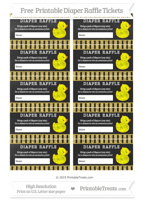 Free Mustard Yellow Striped Chalk Style Baby Duck Diaper Raffle Tickets