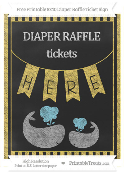 Free Mustard Yellow Striped Chalk Style Baby Whale 8x10 Diaper Raffle Ticket Sign