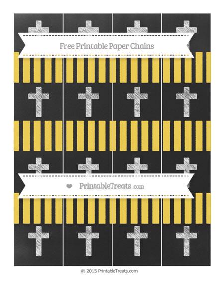 Free Mustard Yellow Striped Chalk Style Cross Paper Chains