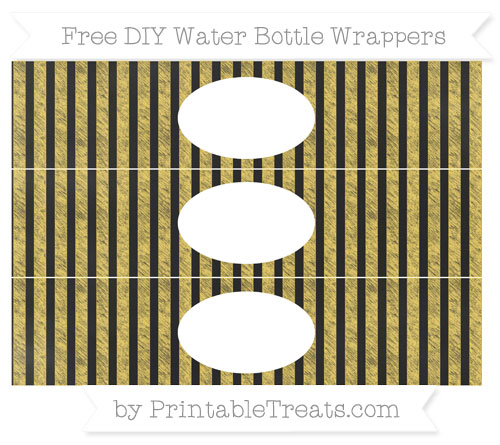 Free Mustard Yellow Striped Chalk Style DIY Water Bottle Wrappers