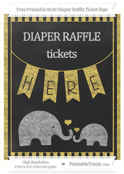 Free Mustard Yellow Striped Chalk Style Elephant 8x10 Diaper Raffle Ticket Sign