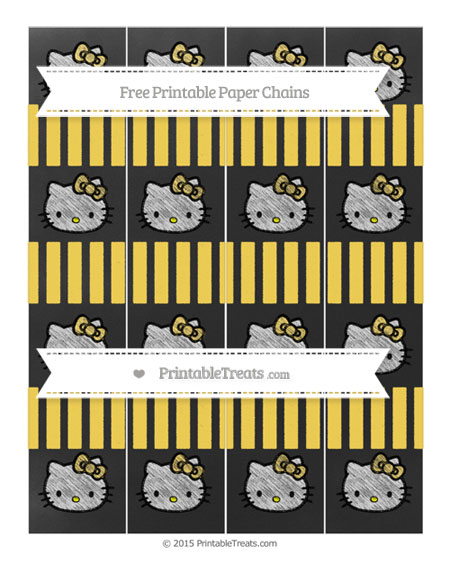 Free Mustard Yellow Striped Chalk Style Hello Kitty Paper Chains