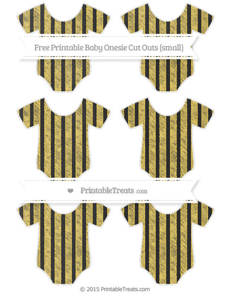 Free Mustard Yellow Striped Chalk Style Small Baby Onesie Cut Outs