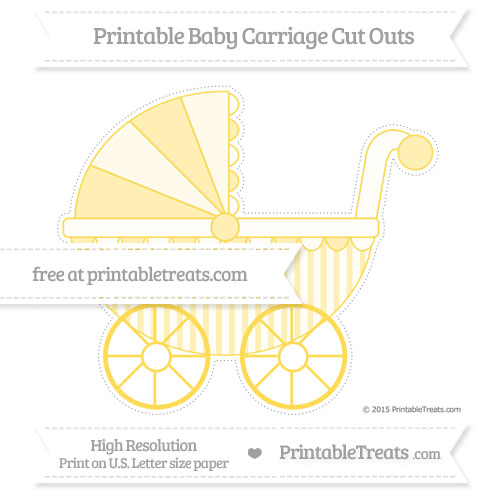 Free Mustard Yellow Striped Extra Large Baby Carriage Cut Outs
