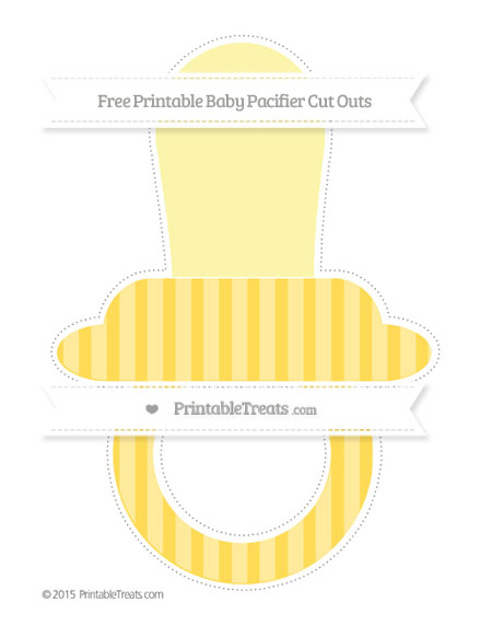 Free Mustard Yellow Striped Extra Large Baby Pacifier Cut Outs