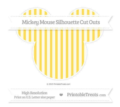 Free Mustard Yellow Striped Extra Large Mickey Mouse Silhouette Cut Outs