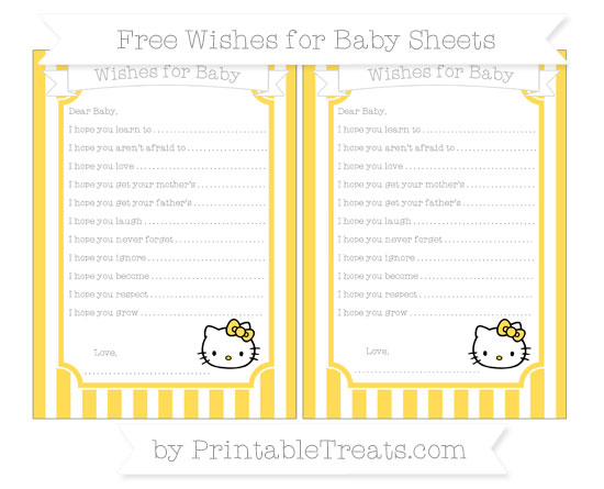 Free Mustard Yellow Striped Hello Kitty Wishes for Baby Sheets