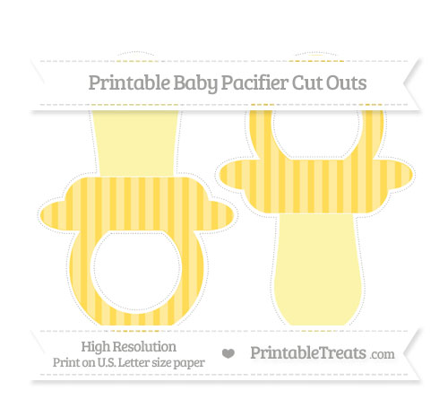 Free Mustard Yellow Striped Large Baby Pacifier Cut Outs