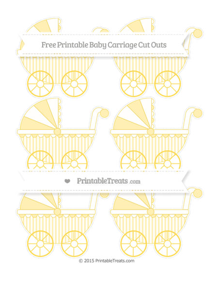 Free Mustard Yellow Striped Small Baby Carriage Cut Outs