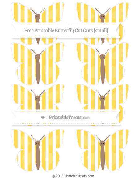 Free Mustard Yellow Striped Small Butterfly Cut Outs