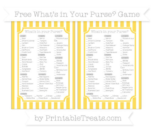 Free Mustard Yellow Striped What's in Your Purse Baby Shower Game