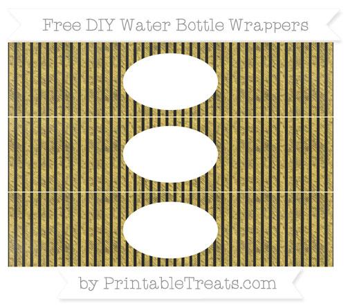 Free Mustard Yellow Thin Striped Pattern Chalk Style DIY Water Bottle Wrappers