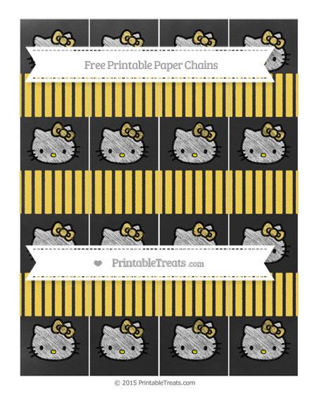 Free Mustard Yellow Thin Striped Pattern Chalk Style Hello Kitty Paper Chains
