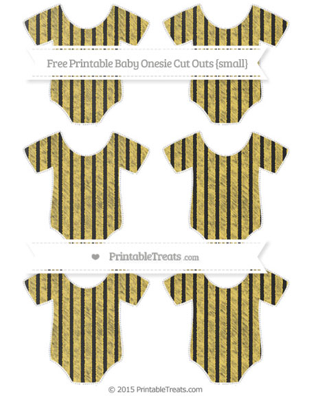 Free Mustard Yellow Thin Striped Pattern Chalk Style Small Baby Onesie Cut Outs