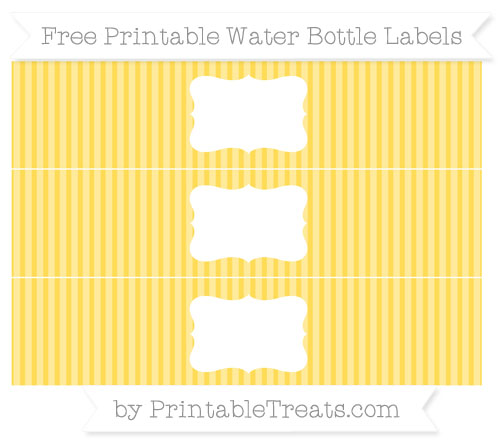 Free Mustard Yellow Thin Striped Pattern Water Bottle Labels