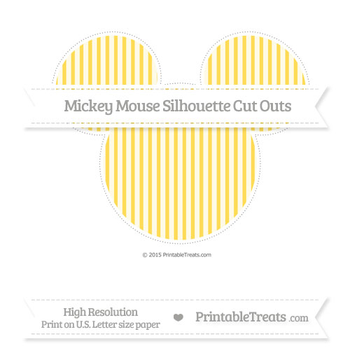 Free Mustard Yellow Thin Striped Pattern Extra Large Mickey Mouse Silhouette Cut Outs