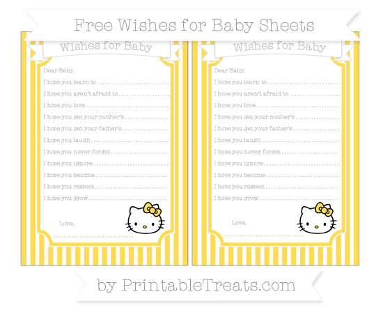 Free Mustard Yellow Thin Striped Pattern Hello Kitty Wishes for Baby Sheets
