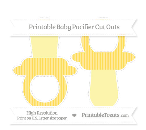 Free Mustard Yellow Thin Striped Pattern Large Baby Pacifier Cut Outs