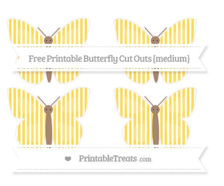 Free Mustard Yellow Thin Striped Pattern Medium Butterfly Cut Outs