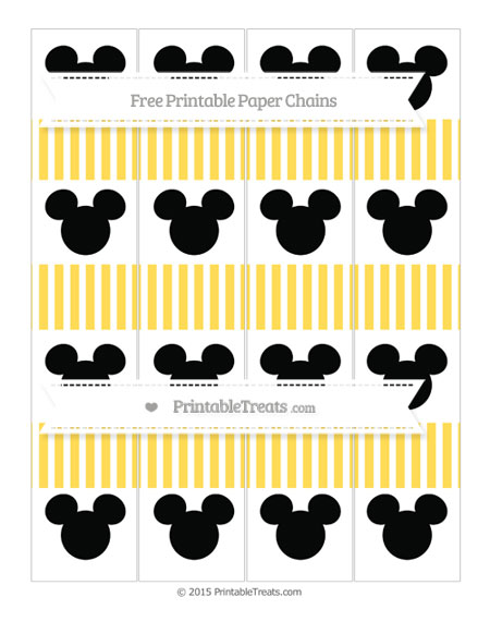 Free Mustard Yellow Thin Striped Pattern Mickey Mouse Paper Chains
