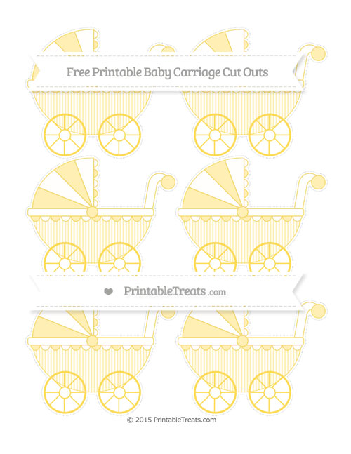 Free Mustard Yellow Thin Striped Pattern Small Baby Carriage Cut Outs
