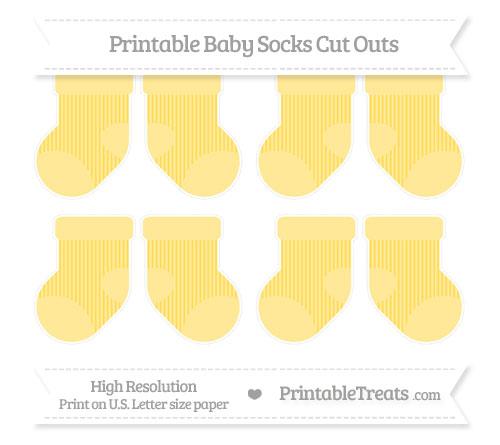 Free Mustard Yellow Thin Striped Pattern Small Baby Socks Cut Outs