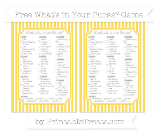 Free Mustard Yellow Thin Striped Pattern What's in Your Purse Baby Shower Game