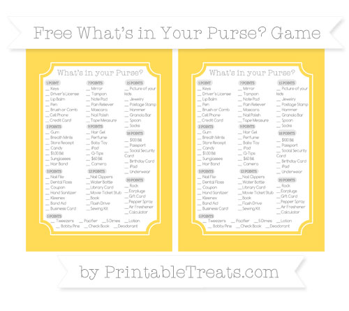 Free Mustard Yellow What's in Your Purse Baby Shower Game