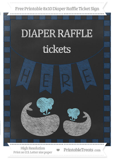 Free Navy Blue Checker Pattern Chalk Style Baby Whale 8x10 Diaper Raffle Ticket Sign