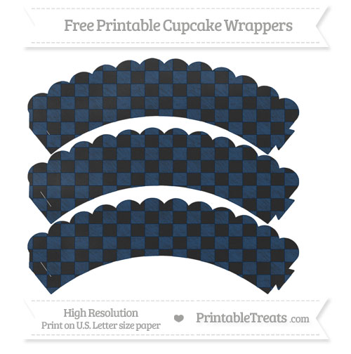 Free Navy Blue Checker Pattern Chalk Style Scalloped Cupcake Wrappers