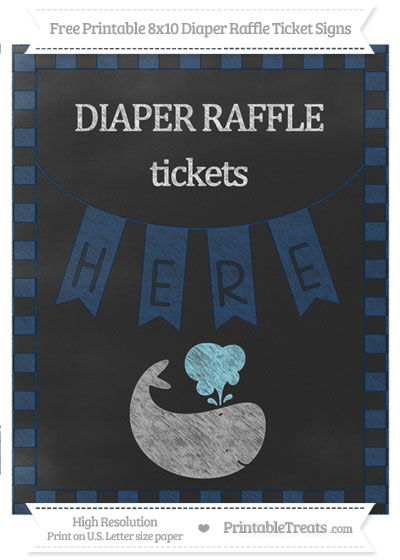Free Navy Blue Checker Pattern Chalk Style Whale 8x10 Diaper Raffle Ticket Sign