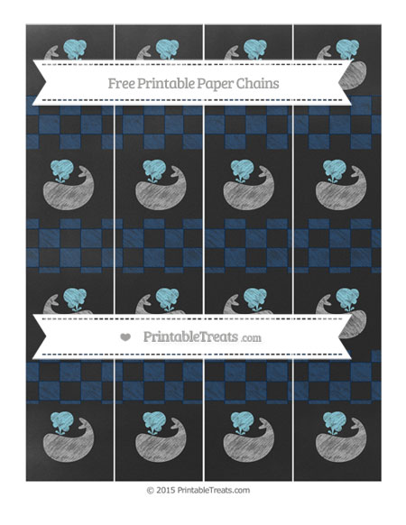 Free Navy Blue Checker Pattern Chalk Style Whale Paper Chains