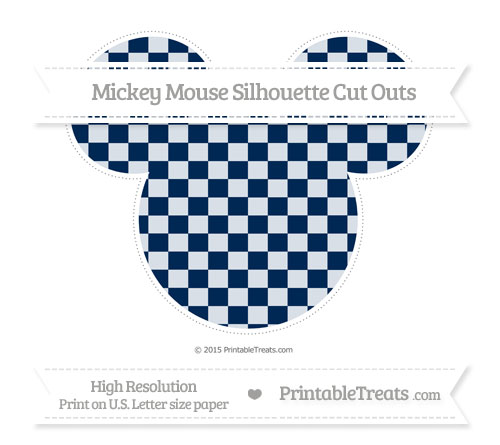 Free Navy Blue Checker Pattern Extra Large Mickey Mouse Silhouette Cut Outs