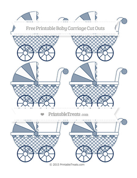 Free Navy Blue Checker Pattern Small Baby Carriage Cut Outs