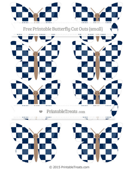 Free Navy Blue Checker Pattern Small Butterfly Cut Outs