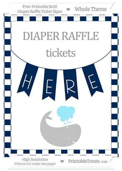 Free Navy Blue Checker Pattern Whale 8x10 Diaper Raffle Ticket Sign