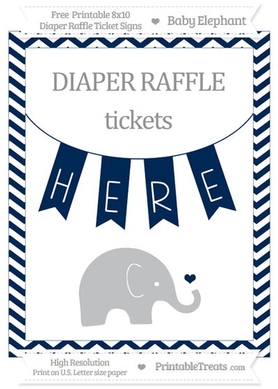 Free Navy Blue Chevron Baby Elephant 8x10 Diaper Raffle Ticket Sign