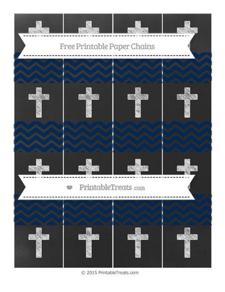 Free Navy Blue Chevron Chalk Style Cross Paper Chains