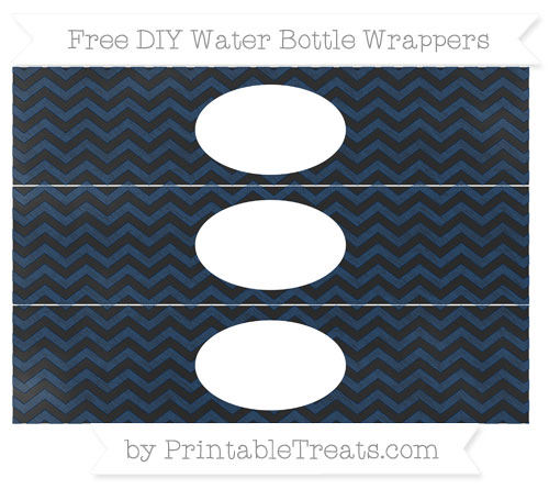 Free Navy Blue Chevron Chalk Style DIY Water Bottle Wrappers