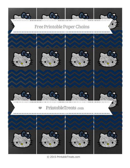 Free Navy Blue Chevron Chalk Style Hello Kitty Paper Chains