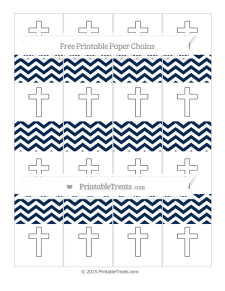 Free Navy Blue Chevron Cross Paper Chains