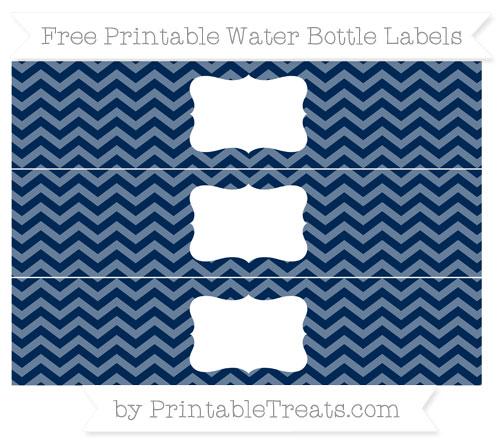 Free Navy Blue Chevron Water Bottle Labels