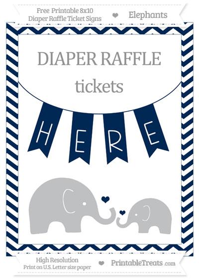 Free Navy Blue Chevron Elephant 8x10 Diaper Raffle Ticket Sign