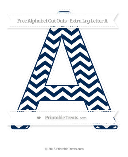 Free Navy Blue Chevron Extra Large Capital Letter A Cut Outs