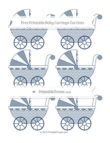 Free Navy Blue Chevron Small Baby Carriage Cut Outs
