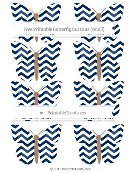 Free Navy Blue Chevron Small Butterfly Cut Outs